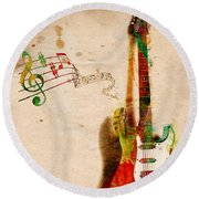 My Guitar Can Sing Round Beach Towel by Nikki Smith