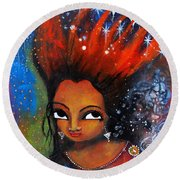 Round Beach Towel featuring the mixed media My Hair Is Being Pulled By The Stars  by Prerna Poojara