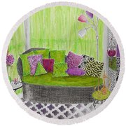 My Happy Place -- Drawing Of Colorful Moroccan Porch Round Beach Towel