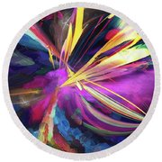 Round Beach Towel featuring the digital art My Happy Place by Margie Chapman