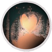 My Heart Is On The Moon Round Beach Towel by Lenore Senior