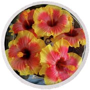 My Hibiscus Garden Round Beach Towel by Jenny Lee