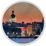 My Home Town At Night... Round Beach Towel