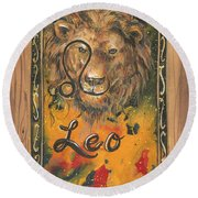 My Leo  Round Beach Towel