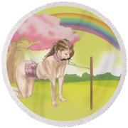 Round Beach Towel featuring the mixed media My Little Pony by TortureLord Art