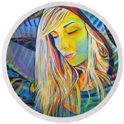 Round Beach Towel featuring the painting My Love by Joshua Morton