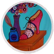 Round Beach Towel featuring the painting My Love by Pristine Cartera Turkus