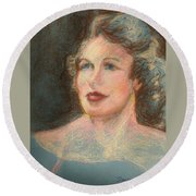 Round Beach Towel featuring the pastel My Mother by Denise Fulmer