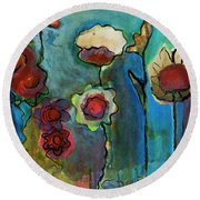 Round Beach Towel featuring the painting My Mother's Garden by Susan Stone