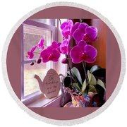 My Orchids Round Beach Towel