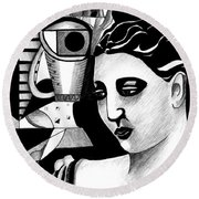 My Outing With A Young Woman By Picasso Round Beach Towel
