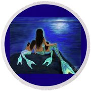 Round Beach Towel featuring the painting My Precious Bunch by Leslie Allen