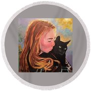 My Purring Friend Whiskers Round Beach Towel