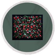 My Real Strawberry Patch Round Beach Towel