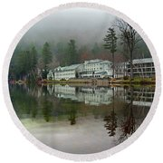 My Reflection On Lake Morey Resort Round Beach Towel