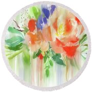 Round Beach Towel featuring the painting My Roses Gently Weep by Colleen Taylor