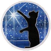 My Shinning Star - Christmas Cat Round Beach Towel