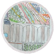 My Side Yard Round Beach Towel