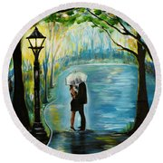 Round Beach Towel featuring the painting My Soulmate by Leslie Allen