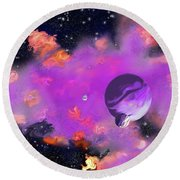 My Space Round Beach Towel by Methune Hively
