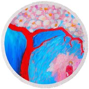 Round Beach Towel featuring the painting My Spring by Ana Maria Edulescu