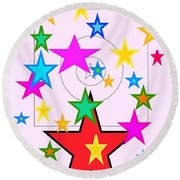 Round Beach Towel featuring the painting My Stars by Denise Fulmer