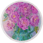My Summer Roses Round Beach Towel