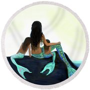 Round Beach Towel featuring the painting My Sunshine Girls by Leslie Allen