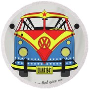 My Superhero-vw-t1-supermanmy Superhero-vw-t1-wonder Woman Round Beach Towel