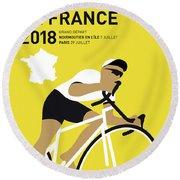 My Tour De France Minimal Poster 2018 Round Beach Towel