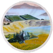 My Tuscan Valley View Round Beach Towel