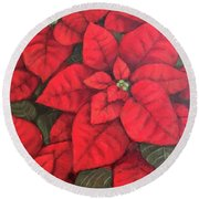 My Very Red Poinsettia Round Beach Towel by Inese Poga