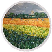 My View Of Arles With Irises Round Beach Towel