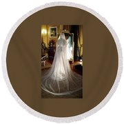 Round Beach Towel featuring the photograph My Wedding Gown by Gary Smith