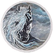 Round Beach Towel featuring the painting My White Dream Horse by AmaS Art