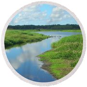 Round Beach Towel featuring the photograph Myakka River Reflections by Emmy Marie Vickers