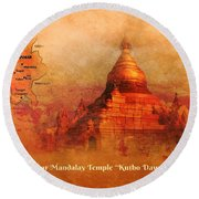 Round Beach Towel featuring the digital art Myanmar Temple Kutho Daw Pagoda by John Wills