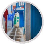 Mykonos Alley Round Beach Towel