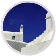 Round Beach Towel featuring the photograph Mykonos Greece Architectual Line 5 by Bob Christopher