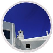 Round Beach Towel featuring the photograph Mykonos Greece Clean Line Architecture by Bob Christopher