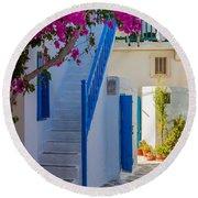 Mykonos Staircase Round Beach Towel