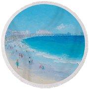 Myrtle Beach And Springmaid Pier Round Beach Towel by Jan Matson