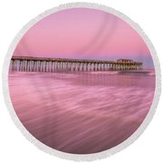 Round Beach Towel featuring the photograph Myrtle Beach Fishing Pier At Sunset Panorama by Ranjay Mitra