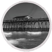 Myrtle Beach Pier Panorama In Black And White Round Beach Towel