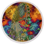 Round Beach Towel featuring the photograph Myrtle Beach Skywheel Abstract by Bill Barber