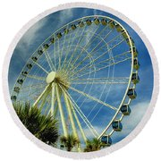Round Beach Towel featuring the photograph Myrtle Beach Skywheel by Bill Barber