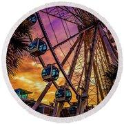 Myrtle Beach Skywheel Round Beach Towel by David Smith