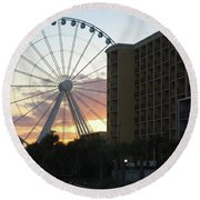 Myrtle Beach Sunset 2 Round Beach Towel by Gordon Mooneyhan
