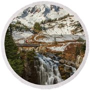 Myrtle Falls, Mt Rainier Round Beach Towel
