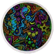Mysteries Of The Night Round Beach Towel by Kevin Caudill